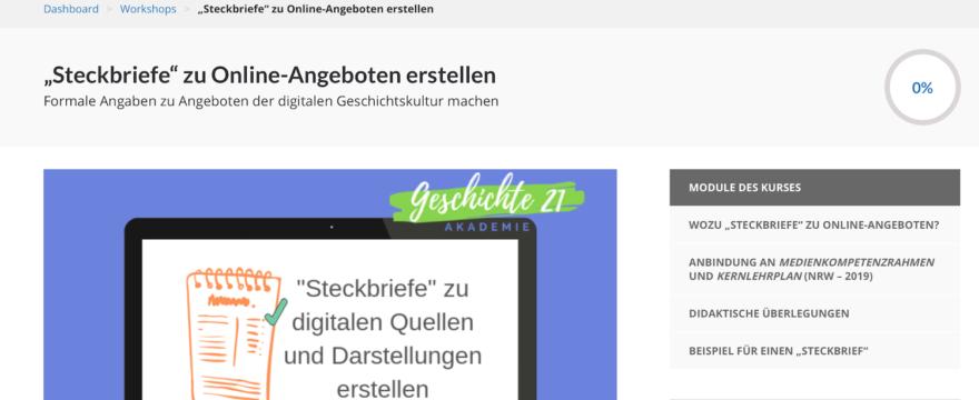 Der Screenshot zeigt die Titelseite des Kurses zu Steckbriefen in der Akademie | Geschichte 21.