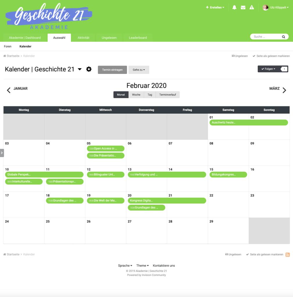Übersicht Kalender der Akademie | Geschichte 21