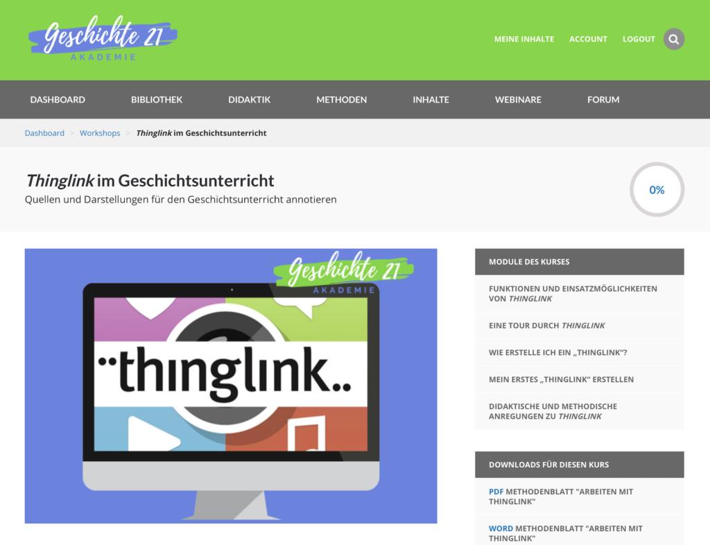 Überblicksseite zum Thinglink-Workshop