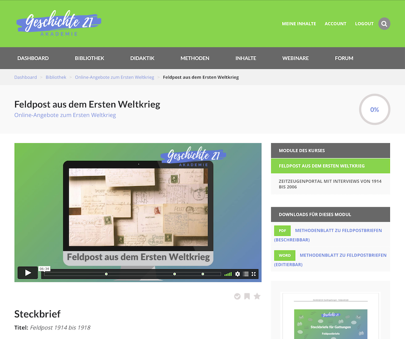 Screenshot Kursmodul Akademie Geschichte 21